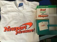 Vtg 80s NEWPORT Pleasure NEON OraNge XL T-Shirt CIGARETTE Advertising Smoker Box