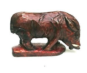 "HAND CARVED Wooden WILD BOAR/HOG  carving , 11"" long"