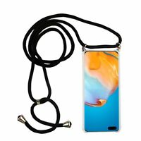 Huawei P40 Mobile Case With Band Case To Sling On With Cord Case Black