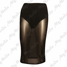 Ladies Womens Sheer Mesh See Through Stretchy Waistband Knee Length Pencil Skirt Black SM 8-10