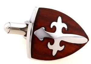 Wood and Stainless Steel Shield Cross Wedding Cufflinks by COWAN BROWN