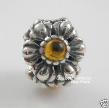 NOVEMBER BIRTHDAY BLOOMS Genuine PANDORA Silver/Yellow CITRINE Charm/Bead NEW