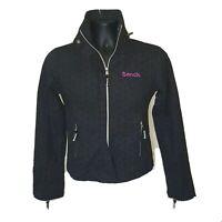 Bench Women's Small Jacket Coat Windbreaker Barbeque Black Purple Light Weight