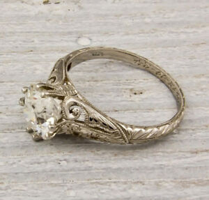 2Ct White Round Cut Diamond Solitaire Antique Ring Solid 925 Sterling Silver
