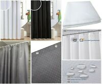DIAMANTE GLITTER SHOWER CURTAIN WITH HOOKS MACHINE WASHABLE WATERPROOF LONG DROP
