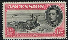 ASCENSION 1949 KG VI 1½d BLK & ROSE-CARMINE P14 CUT MAST & RAILINGS FMM SG 40db