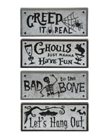 "Halloween Skull Bat Spider Sign Set 4 Wood Block Table Decor 6""x2.5"""