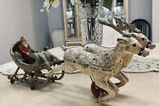 Rare Original 1909 HUBLEY Cast Iron Sleigh with Santa & 2 Reindeer Christmas