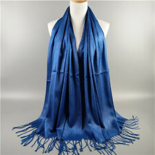 Womens Silk Style Solid Long Pashmina Shawl Wrap Soft Scarf Cashmere Scarves UK