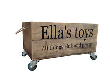 Large Personalised  Wooden Toybox With Lid Vintage Style Storage
