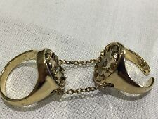House of Harlow 1960 New & Genuine 14 KT Gold Plated Double Chain Ring Size 7