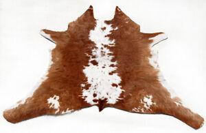 "Rare Cowhide Rugs Calf Hide Cow Skin Rug (29""x31"") Brown and White CH8506"