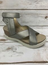 Fly London Womens Weel Ankle Strap Wedge Sandals - Lead Size 39 NIB