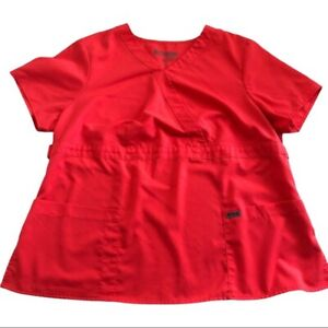 Grey's Anatomy Scrubs Modern Fit Mock Wrap Top Short Sleeved V Neck Nurse Sz 2x