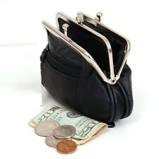 Black Genuine Leather Women's Change Purse 2 Compartments Coin Holder