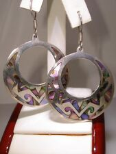 BEAUTIFUL VINTAGE SIGNED MEXICO STERLING ABALONE INLAY EARRINGS!