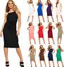 New Women's Sleeveless Strappy Plain High Neck Stretch Bodycon Ladies Midi Dress