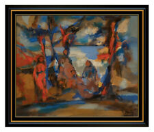 Marcel Mouly Original Oil Painting On Canvas Signed Portrait Abstract Cubism Art