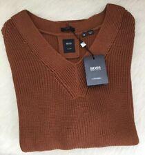 BOSS Hugo Boss Men's Black Label Brown V- Neck Knitted Sweater (MED) NWT $275USD