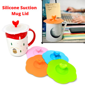 5 x Silicone Cup Lid Glass Drink Cover Anti-dust Coffee Mug Suction Seal UK NEW
