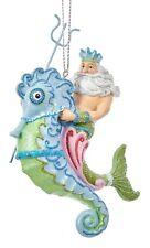 Mermaid Fantasy King Neptune Riding Seahorse Christmas Holiday Ornament