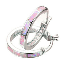 1 Pair Woman Fashion 925 Silver Pink Fire Opal Charm Stud Earring NEW Jewelry !!