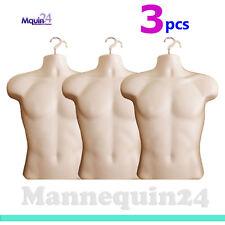 3 Pack - Male Mannequin Torsos Flesh + Hanging Hooks- 3 Men Display Dress Forms