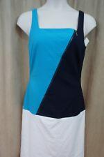 Ralph Lauren Dress Sz 8 Navy Blue White Colorblock Sheath Career Cocktail Dress