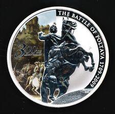 2009 Tuvalu Battle Of Poltava 1 Troy Oz .999 Fine Proof Coin w/ Box & COA