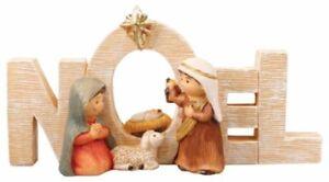Xmas Nativity Set NOEL Small Holy Family Figures Multicolour Xmas Decoration