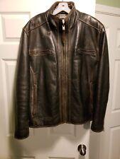 Marc New York Premium Brown Authentic Leather Jacket Lined Men's XXXL Biker