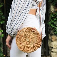 Round Rattan Bag Handmade Bali Ata Straw Woven Circle Crossbody Handag for Women