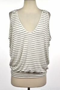 Bordeaux Womens Top Size XS Gray Striped Knit Sleeveless Casual V Neck Shirt