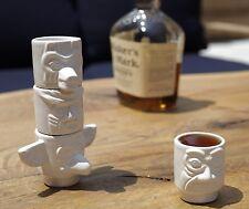 Kikkerland Set Of 4 Totem Pole Stackable Porcelain Shot Glasses Espresso Cup