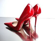 CQ COUTURE ITALY HEELS POINTY PUMPS SCHUHE DECOLTE PATENT LEATHER RED ROSSO 38