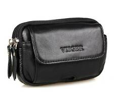 Leather Horizontal Mens Cell Phone Pouch Hip Belt Bag Smartphone Holster Travel