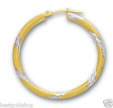 3 x 30mm Twisted Textured TwoTone Hoop Earrings Real 14K Yellow White Gold