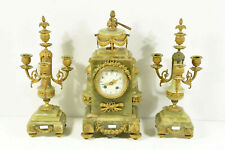 Antique French onyx and brass mantel clock set louis Xvi decor candelabras