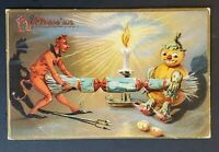 1908 Rockland to Foster Center RI Devil Pumpkin Halloween Picture Postcard Cover