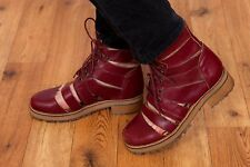 Topshop oxblood leather lace up gladiator ankle boots size 6