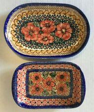 Set of 2 Boleslawiec Dishes UNIKAT Floral Hand Made Polish Pottery
