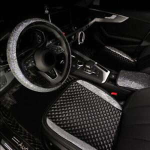 Bling Rhinestone PU Car Steering Wheel Cover Protector Seat Cover Cushion Mat