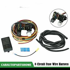 12V Universal 8 Circuit Fuse Wire Harness For Muscle Car Hot Rod Street Rat
