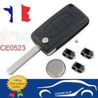Coque PLIP Clé Télécommande CITROEN Picasso C2 C3 C4 C5 C6 CE0523 +Pile+3 Switch