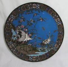 """Exquisite 12"""" Antique Japanese 19thc Meiji Cloisonne Plate - Cranes & Birds"""