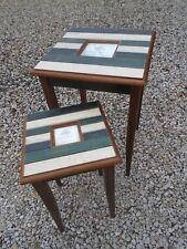 2-Pc Nesting Table Set Big Sky Carvers Picture frame tops Seaside Ocean Cottage