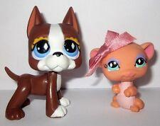 Littlest Pet Shop LPS 588 589 Brown Great Dane Diamond Eyes & Mouse AUTHENTIC!