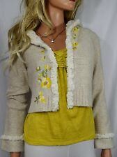 ANTHROPOLOGIE SLEEPING ON SNOW Curly Clara Fuzzy Hooded Cardigan Size S