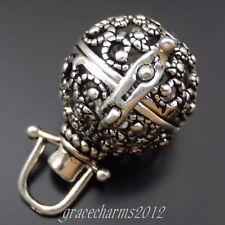 2pcs Gun Black Tone Sheep Horns Ball Hollow Lockets Pendant Charms Jewelry 39701