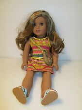 "18"" American Girl Doll Long Blond Hair Green Eyes Outfit and Satchel"